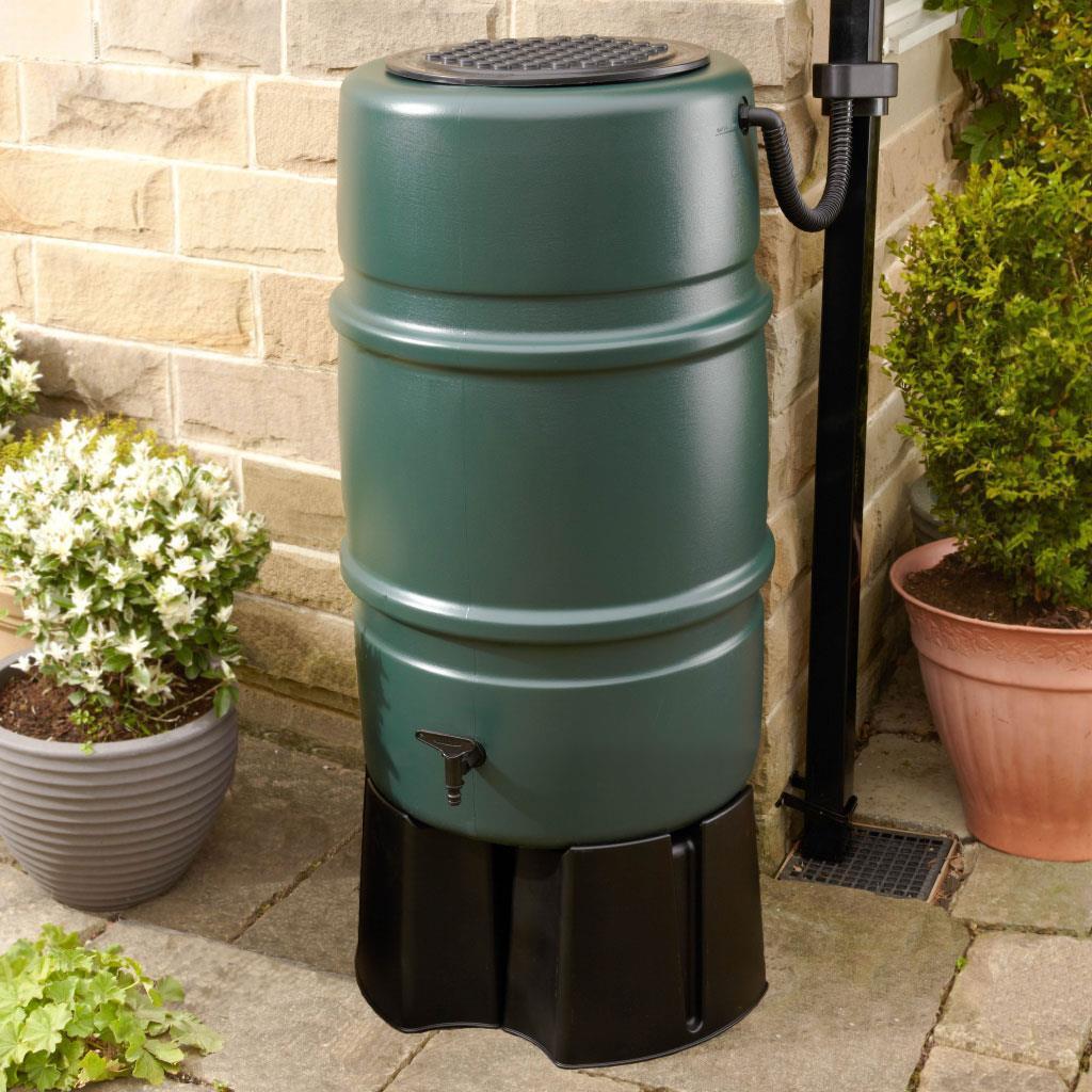 Slim Space Saving Water Butt 100L Green Outdoor Garden Allotment Rain Water